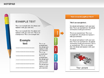 Notepad with Bookmarks Shapes and Diagrams, Slide 3, 00496, Timelines & Calendars — PoweredTemplate.com