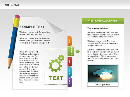 Notepad with Bookmarks Shapes and Diagrams, Slide 4, 00496, Timelines & Calendars — PoweredTemplate.com