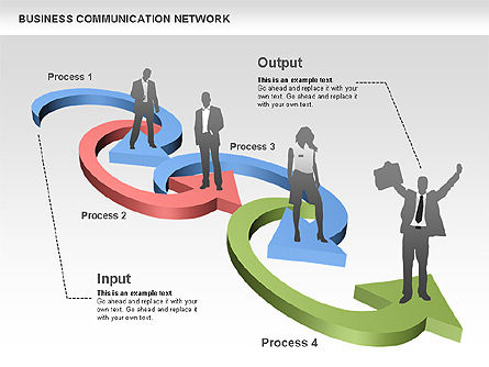 Business Communications Network, Slide 10, 00536, Process Diagrams — PoweredTemplate.com