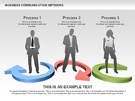 Business Communications Network, Slide 12, 00536, Process Diagrams — PoweredTemplate.com