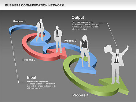 Business Communications Network, Slide 13, 00536, Process Diagrams — PoweredTemplate.com