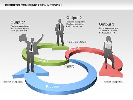 Business Communications Network, Slide 7, 00536, Process Diagrams — PoweredTemplate.com