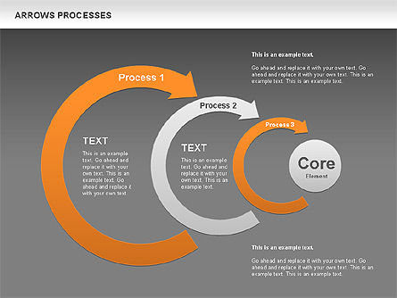 Processes with Curved Arrows Toolbox, Slide 10, 00558, Shapes — PoweredTemplate.com