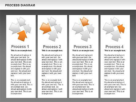 Process with Opposite Arrows Diagram, Slide 12, 00559, Process Diagrams — PoweredTemplate.com