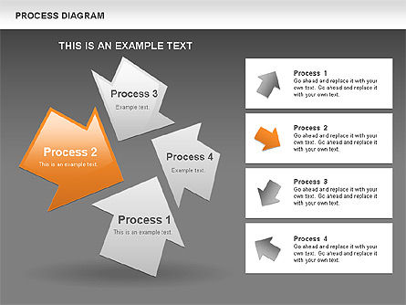 Process with Opposite Arrows Diagram, Slide 13, 00559, Process Diagrams — PoweredTemplate.com