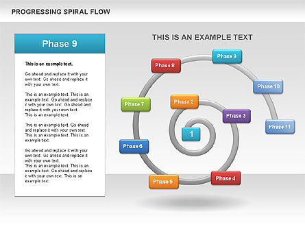 Progressing Spiral Flow Chart, Slide 12, 00560, Stage Diagrams — PoweredTemplate.com