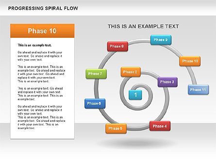 Progressing Spiral Flow Chart, Slide 13, 00560, Stage Diagrams — PoweredTemplate.com