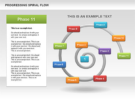 Progressing Spiral Flow Chart, Slide 14, 00560, Stage Diagrams — PoweredTemplate.com