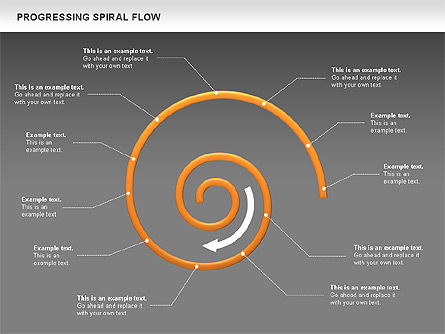 Progressing Spiral Flow Chart, Slide 18, 00560, Stage Diagrams — PoweredTemplate.com