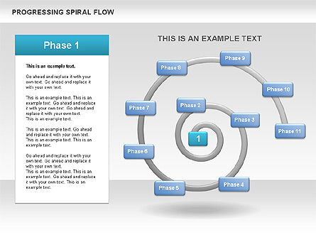 Progressing Spiral Flow Chart, Slide 4, 00560, Stage Diagrams — PoweredTemplate.com