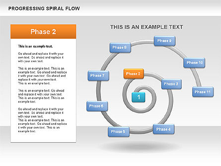 Progressing Spiral Flow Chart, Slide 5, 00560, Stage Diagrams — PoweredTemplate.com