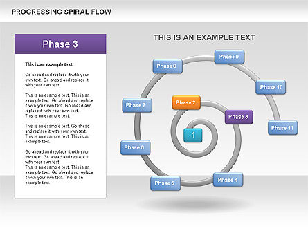 Progressing Spiral Flow Chart, Slide 6, 00560, Stage Diagrams — PoweredTemplate.com