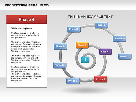 Progressing Spiral Flow Chart, Slide 7, 00560, Stage Diagrams — PoweredTemplate.com