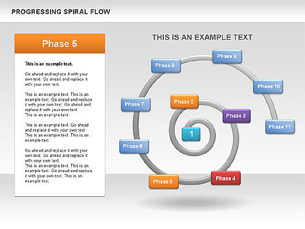 Progressing Spiral Flow Chart, Slide 8, 00560, Stage Diagrams — PoweredTemplate.com