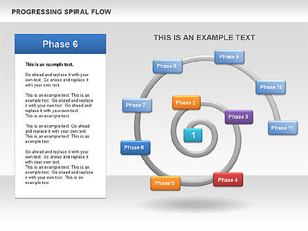 Progressing Spiral Flow Chart, Slide 9, 00560, Stage Diagrams — PoweredTemplate.com
