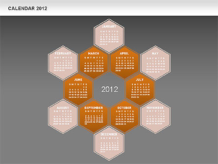 Timelines & Calendars: Calendrier de diamants PowerPoint gratuit #00569