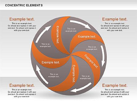Concentric Process Shapes, Slide 14, 00588, Shapes — PoweredTemplate.com