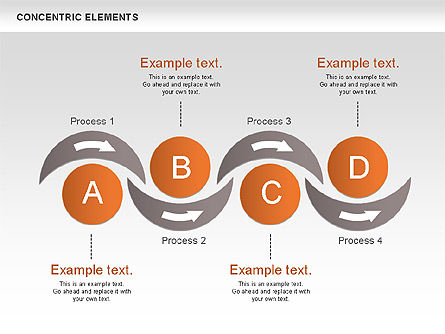 Concentric Process Shapes, Slide 9, 00588, Shapes — PoweredTemplate.com