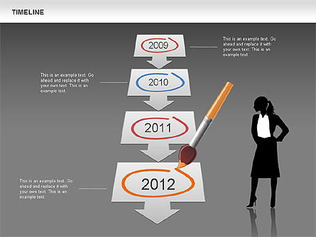 Timeline and Silhouettes Diagram, Slide 11, 00632, Timelines & Calendars — PoweredTemplate.com