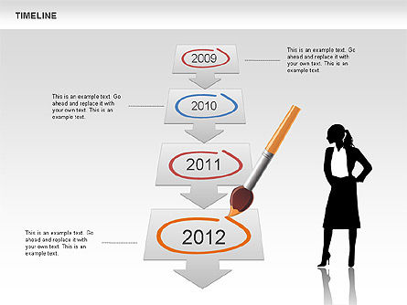 Timeline and Silhouettes Diagram Slide 4