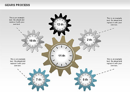 Process with Gears, Slide 10, 00634, Process Diagrams — PoweredTemplate.com