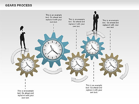 Process with Gears, Slide 7, 00634, Process Diagrams — PoweredTemplate.com
