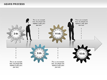 Process with Gears, Slide 9, 00634, Process Diagrams — PoweredTemplate.com