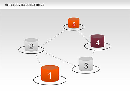 Strategy with Cylinders Diagram, Slide 6, 00676, Stage Diagrams — PoweredTemplate.com