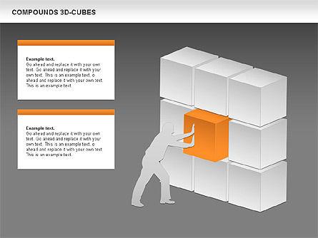 Compound 3D Cubes, Slide 14, 00679, Shapes — PoweredTemplate.com
