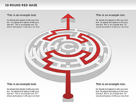 3D Round Red Maze, Slide 10, 00684, Business Models — PoweredTemplate.com