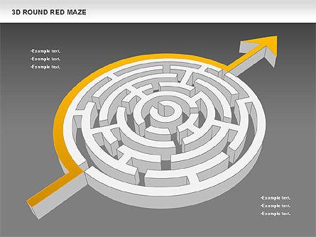 3D Round Red Maze, Slide 15, 00684, Business Models — PoweredTemplate.com