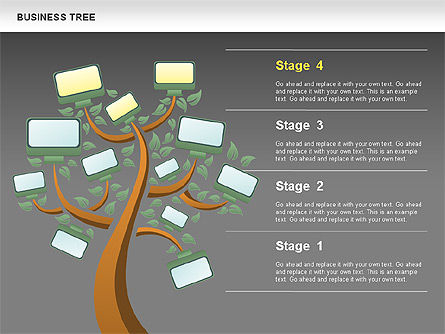 Business Tree Stage Diagram, Slide 16, 00692, Stage Diagrams — PoweredTemplate.com