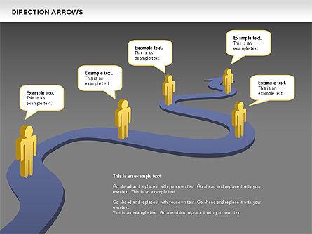 Direction Arrows, Slide 9, 00696, Shapes — PoweredTemplate.com
