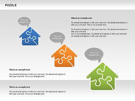 Puzzled Shapes Collection, Slide 2, 00702, Puzzle Diagrams — PoweredTemplate.com