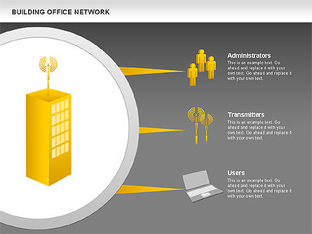 Office Network Diagram, Slide 14, 00704, Business Models — PoweredTemplate.com