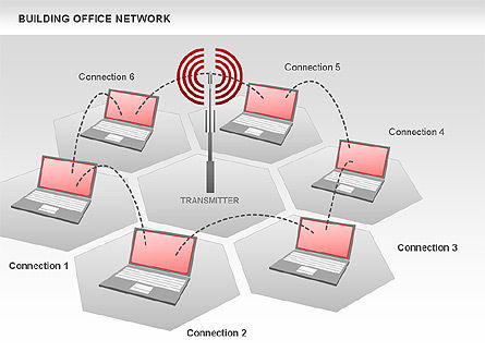 Office Network Diagram, Slide 2, 00704, Business Models — PoweredTemplate.com
