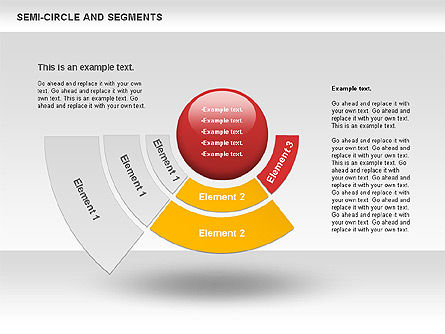 Segments and Semicircle, Slide 4, 00721, Pie Charts — PoweredTemplate.com
