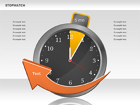 Stopwatch Diagram, 00724, Pie Charts — PoweredTemplate.com