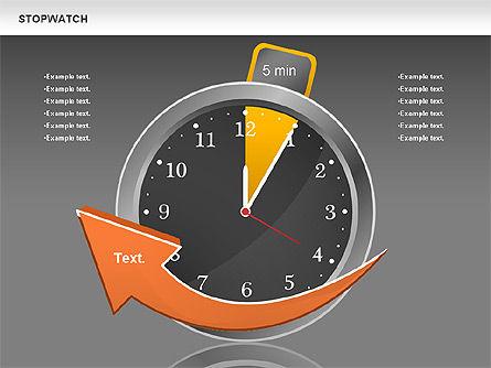 Stopwatch Diagram, Slide 10, 00724, Pie Charts — PoweredTemplate.com
