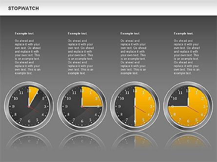 Stopwatch Diagram, Slide 11, 00724, Pie Charts — PoweredTemplate.com