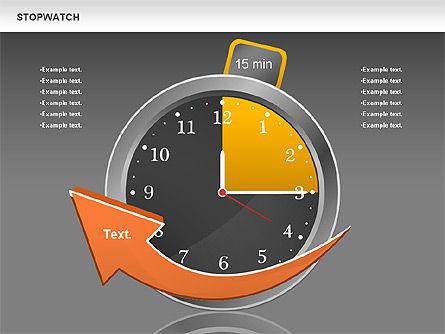 Stopwatch Diagram, Slide 12, 00724, Pie Charts — PoweredTemplate.com