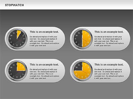 Stopwatch Diagram, Slide 14, 00724, Pie Charts — PoweredTemplate.com