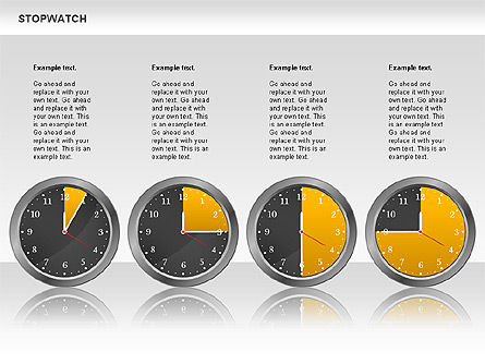 Stopwatch Diagram, Slide 2, 00724, Pie Charts — PoweredTemplate.com