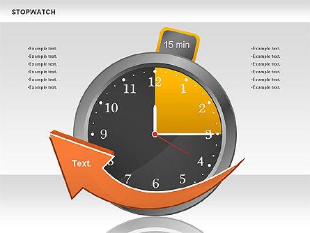 Stopwatch Diagram, Slide 3, 00724, Pie Charts — PoweredTemplate.com
