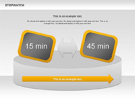 Stopwatch Diagram, Slide 4, 00724, Pie Charts — PoweredTemplate.com