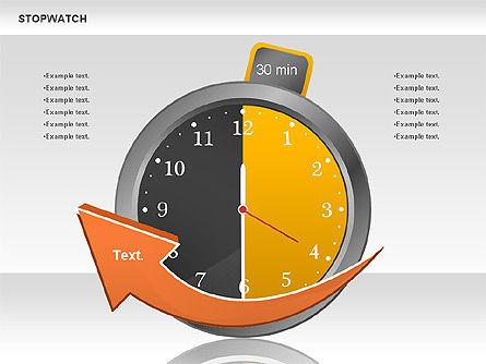 Stopwatch Diagram, Slide 5, 00724, Pie Charts — PoweredTemplate.com