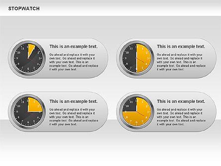 Stopwatch Diagram, Slide 6, 00724, Pie Charts — PoweredTemplate.com