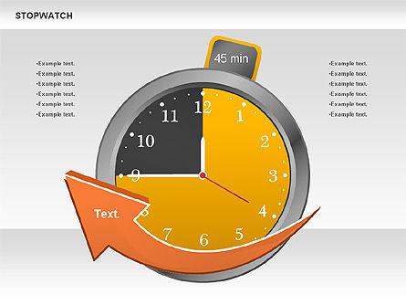 Stopwatch Diagram, Slide 7, 00724, Pie Charts — PoweredTemplate.com