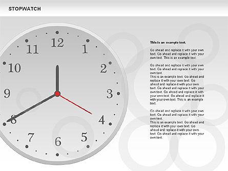 Stopwatch Diagram, Slide 8, 00724, Pie Charts — PoweredTemplate.com