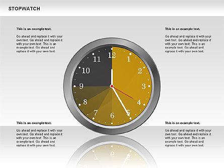 Stopwatch Diagram, Slide 9, 00724, Pie Charts — PoweredTemplate.com